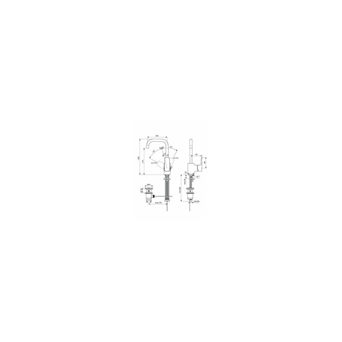 Maišytuvas Ideal Standard, Ceraplan III, praustuvui, aukštu čiaupu