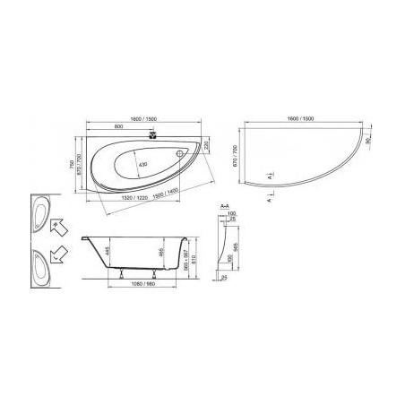 Akrilinė asimetriška vonia Ravak Avocado, 150x75 cm, dešininė