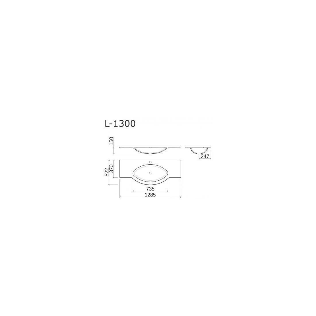 Praustuvas VISPOOL L-1300 129x52
