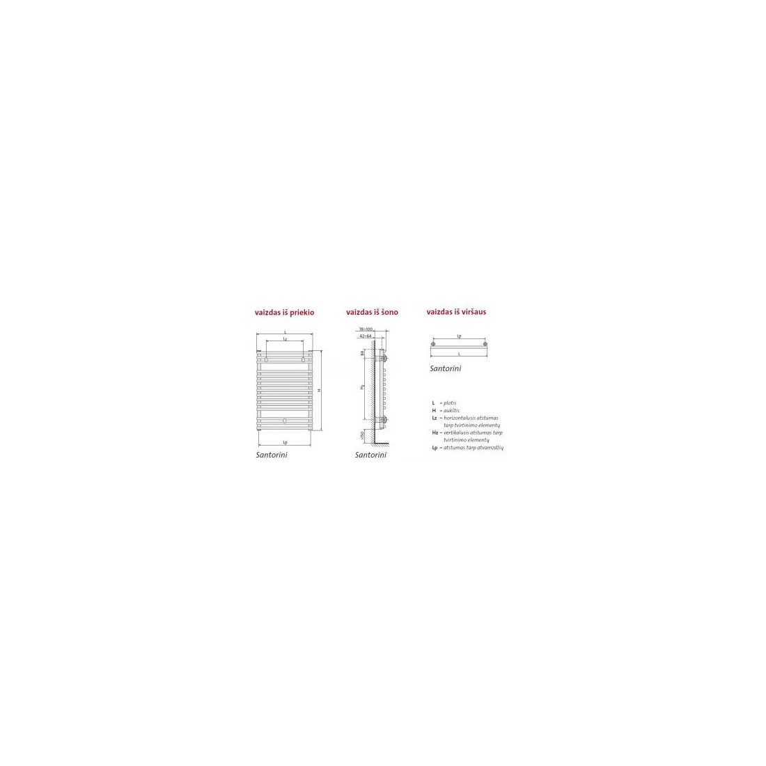 Rankšluosčių džiovintuvas PURMO SANTORINI , 500-1764 894 W