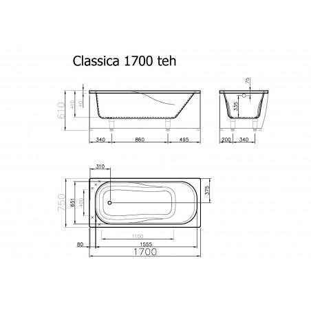 Akmens masės vonia Vispool Classica balta, 170x75