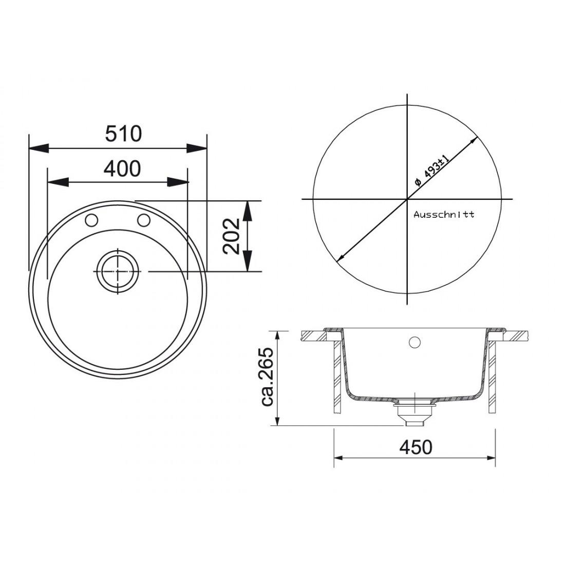 Akmens masės plautuvė Franke Ronda ROG 610-41, užkemšamas ventilis, Umbra