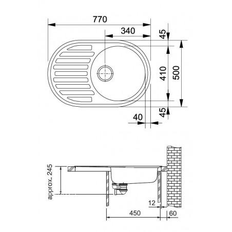 Akmens masės plautuvė Franke Ronda ROG 611, užkemšamas ventilis, Sachara