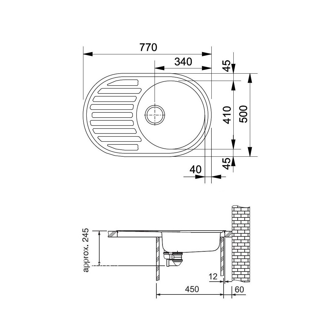 Akmens masės plautuvė Franke Ronda ROG 611, ekscentrinis ventilis, Graphit