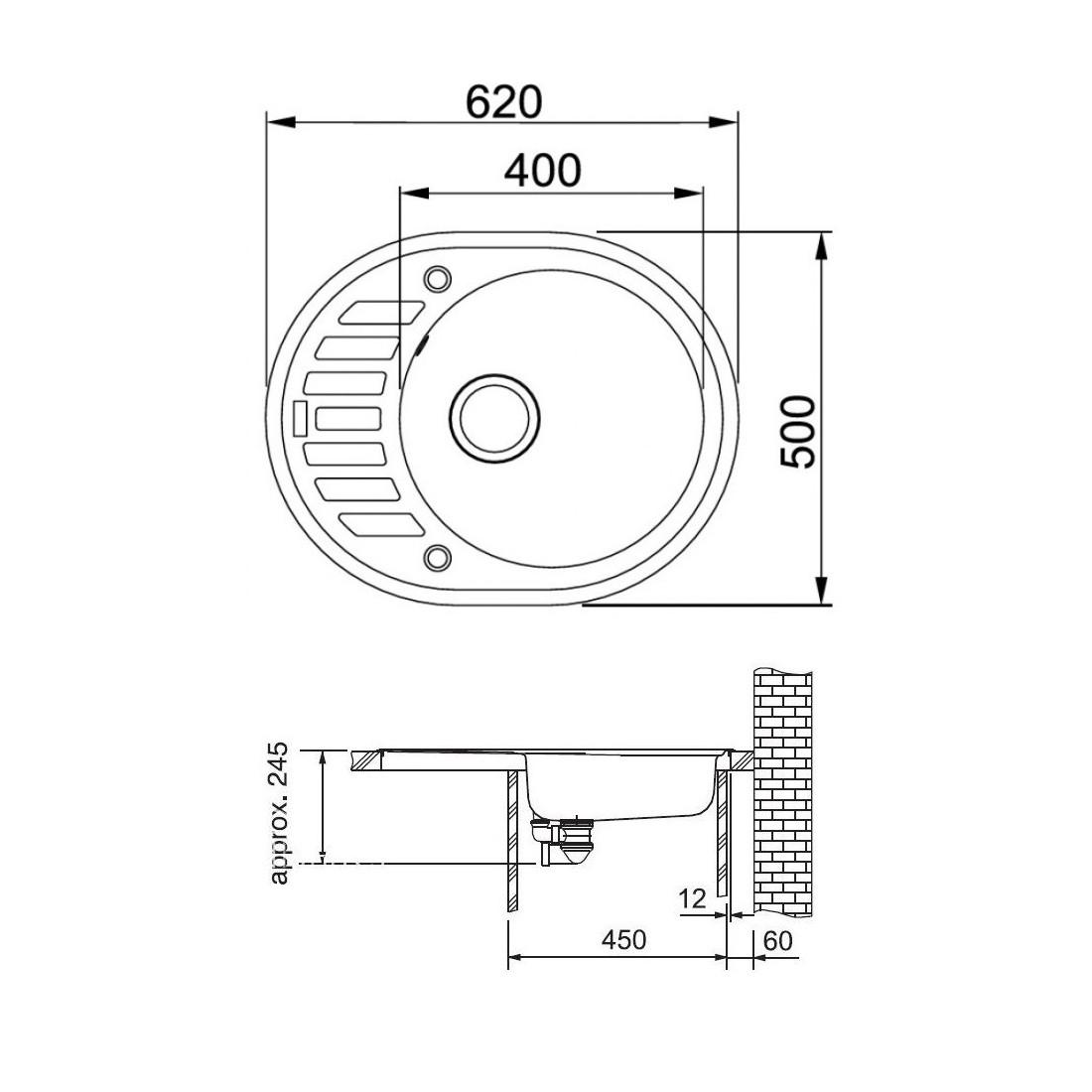 Akmens masės plautuvė Franke Ronda ROG 611-62, ekscentrinis ventilis, Sachara