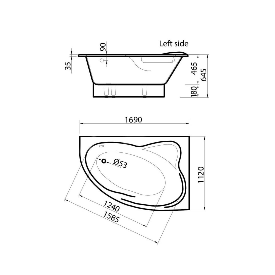 Akmens masės vonia Vispool Orte, kairės pusės, balta