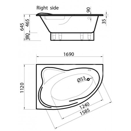 Akmens masės vonia Vispool Orte, dešinės pusės, balta