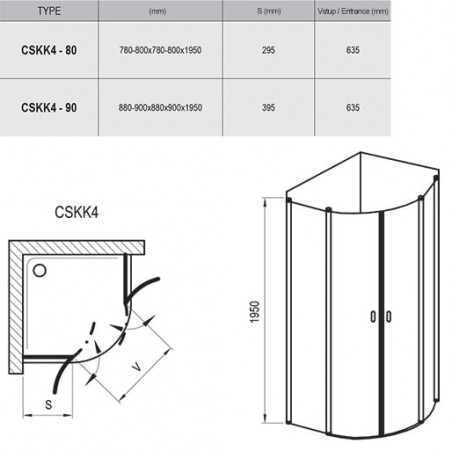 Dušo kabina Ravak Chrome CSKK4, 90, blizgus profilis