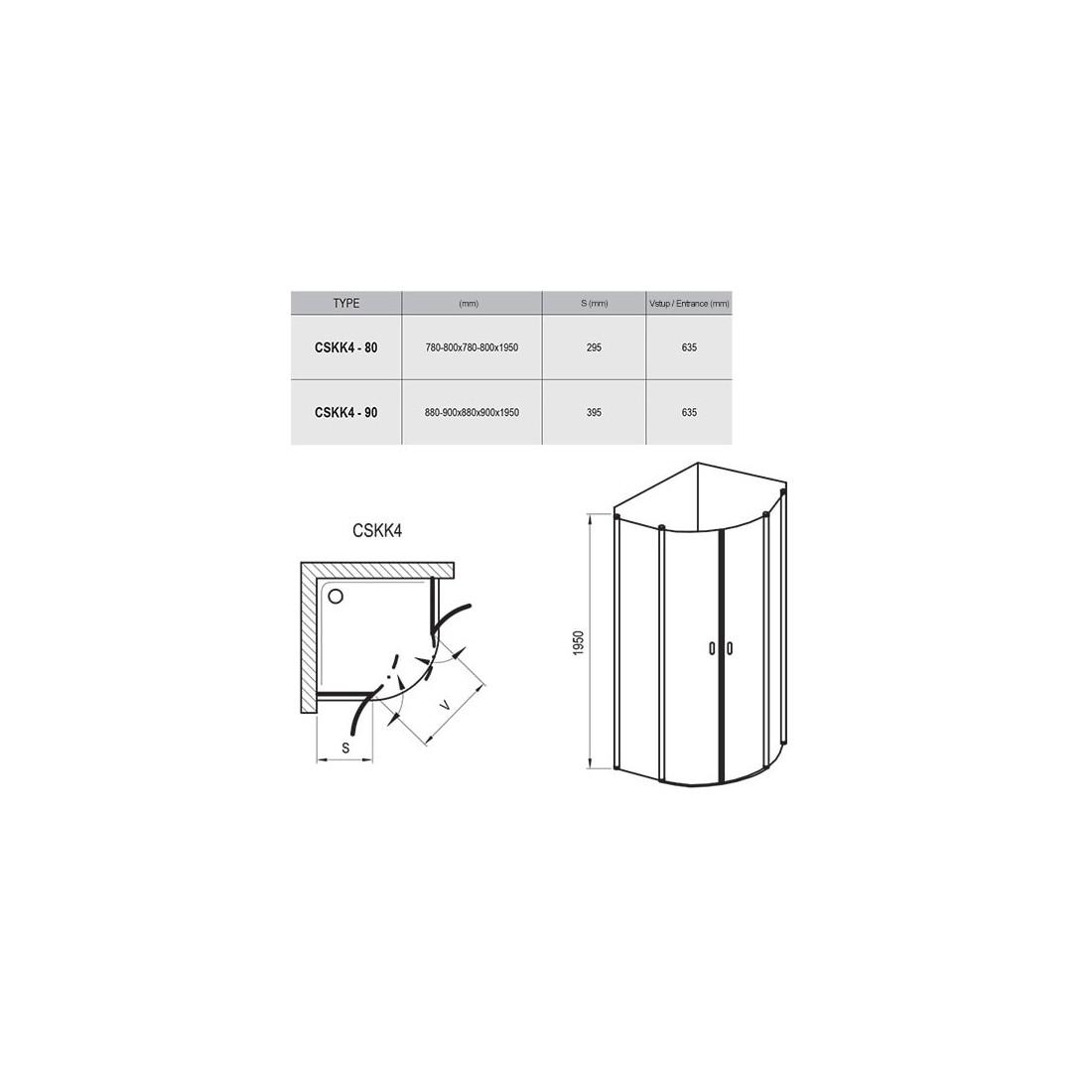 Dušo kabina Ravak Chrome CSKK4, 90, satin profilis