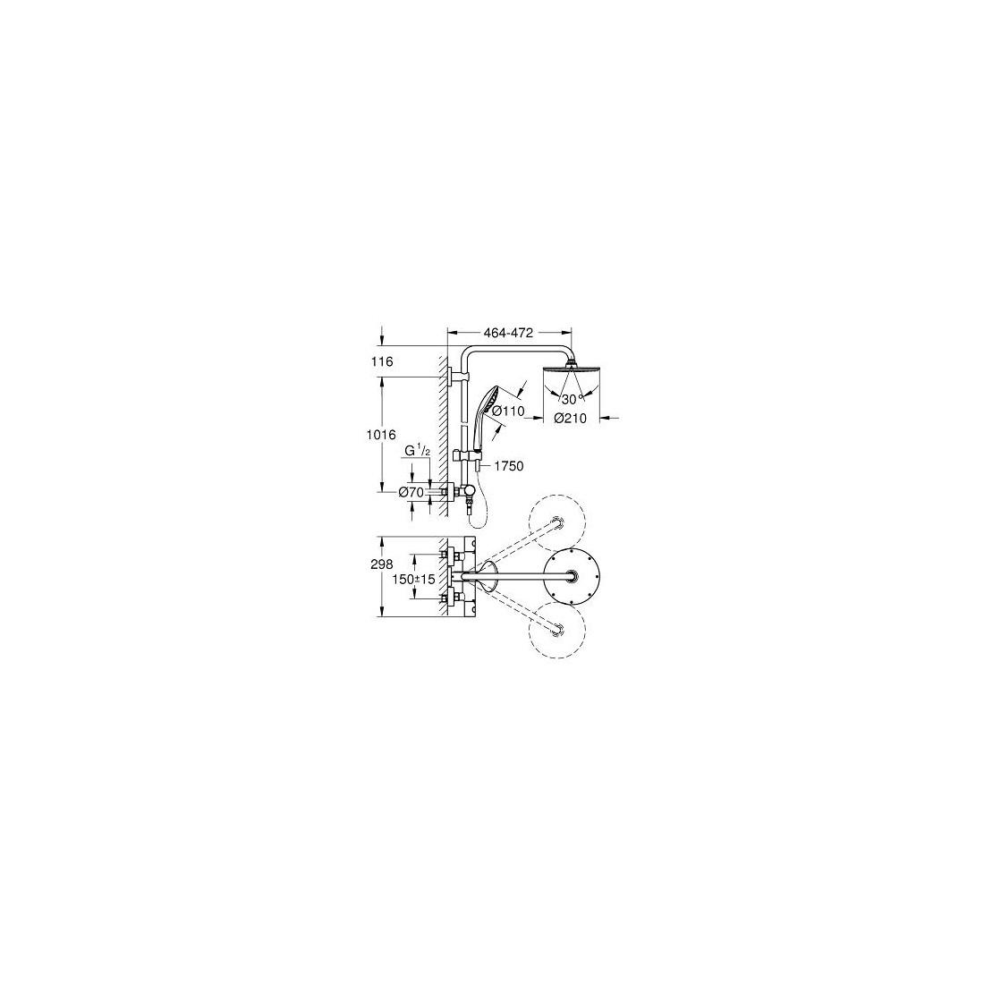 Stacionari dušo sistema Grohe, Euphoria XXL 210, su termostatiniu maišytuvu