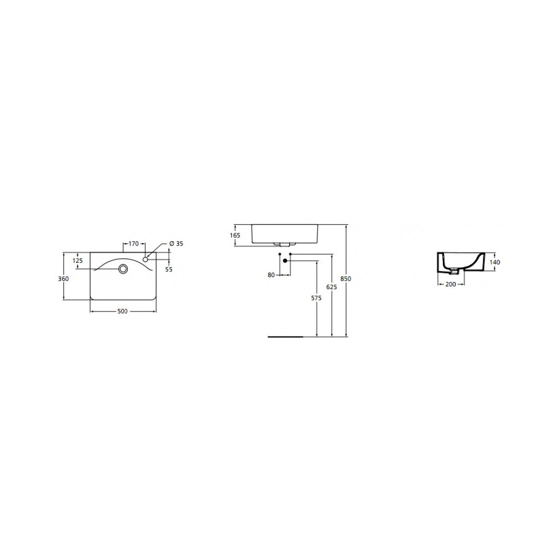 Praustuvas IDEAL STANDARD Connect Cube, 50 cm, pusiau įmontuojamas, dešininis