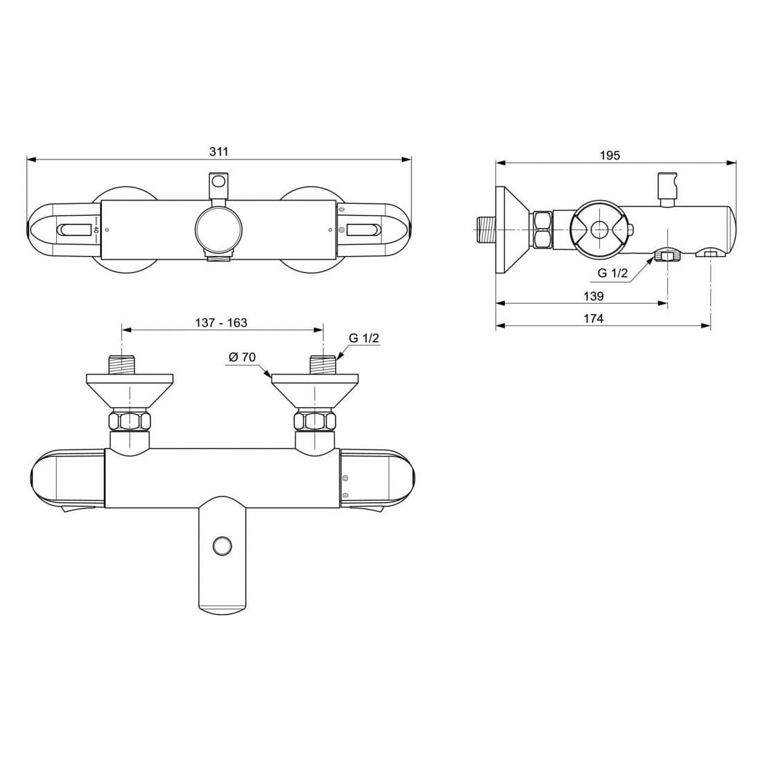 Termostatinis maišytuvas Ideal Standard, Ceratherm 25, voniai