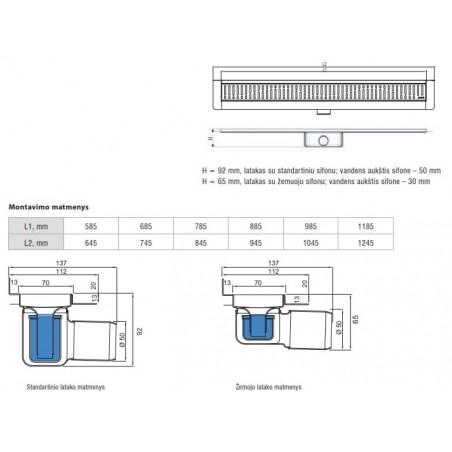 Dušo latakas Aco ShowerDrain C, 785, aukštis 65 mm, su ruošiniu plytelėms