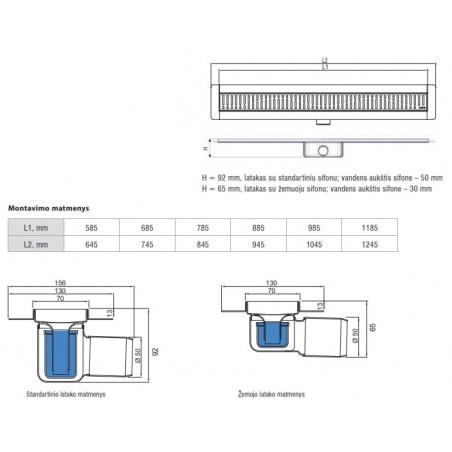 Dušo latakas Aco ShowerDrain C, 785, aukštis 65 mm, su Wave grotelėmis