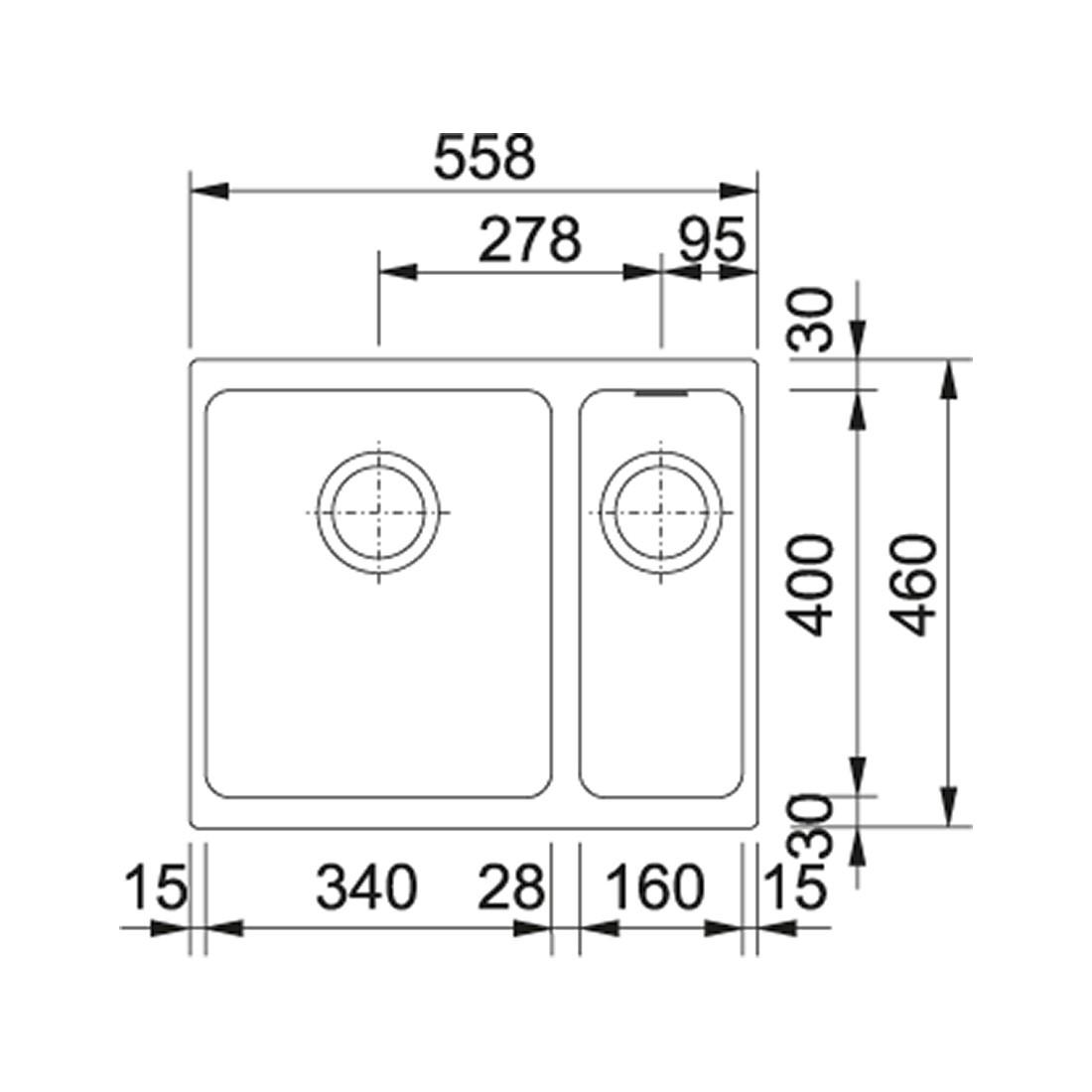 Akmens masės plautuvė Franke Kubus KBG 160, ekscentrinis ventilis, Graphit