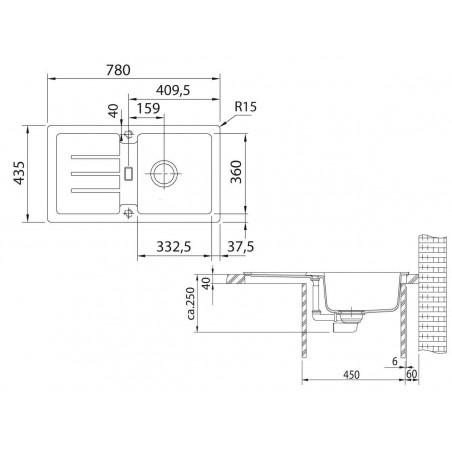 Akmens masės plautuvė Franke Strata, STG 614-78, Umbra, ekscentrinis ventilis