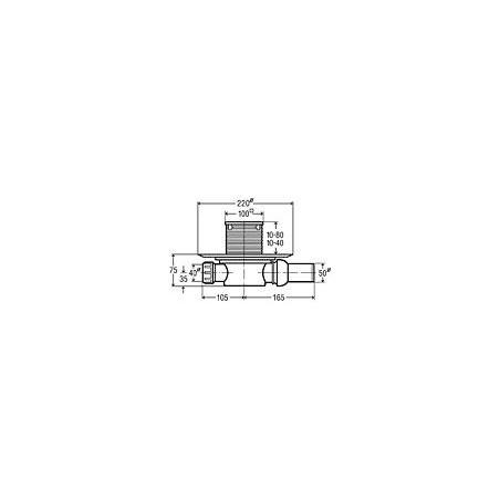 Horizontalus, sausas, reguliuojamo aukščio trapas su nerūdijančio plieno grotelėmis ir sandarinimo žiedu VIEGA, d 50