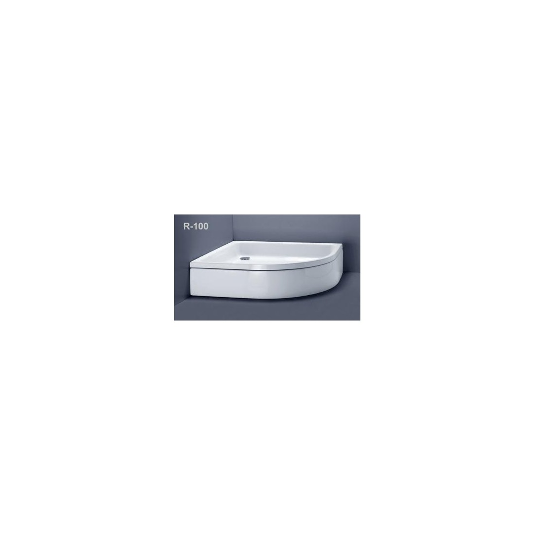 Akmens masės pusapvalis dušo padėklas VISPOOL R-100 su apdaila (r550)