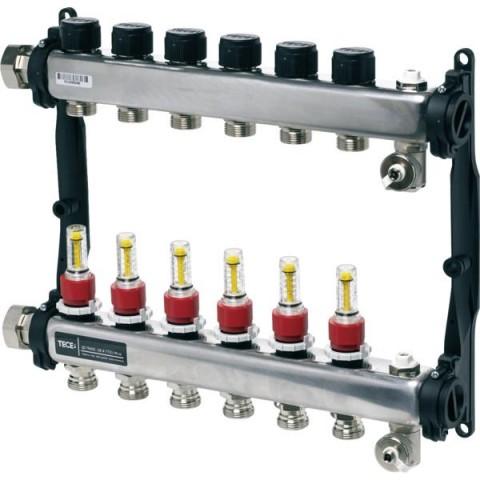 TECEfloor SLQ nerūdijandčio plieno reguliuojamas kolektorius su srauto matuokliais