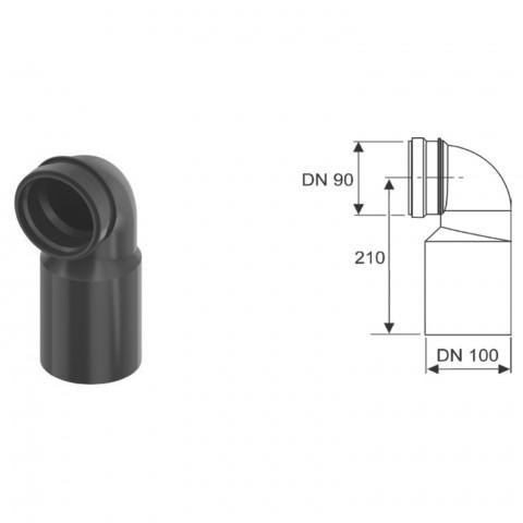TECEprofil WC pajungimo alkūnė 90° – DN 90/100.