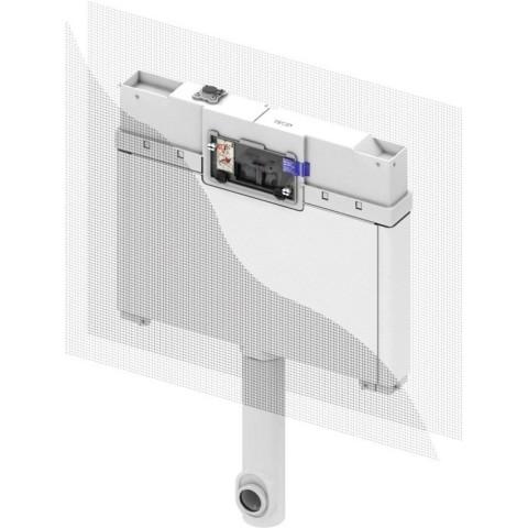8 cm TECEbox nuplovimo bakelis, pritaikytas pastatomam klozetui. Valdymas iš priekio