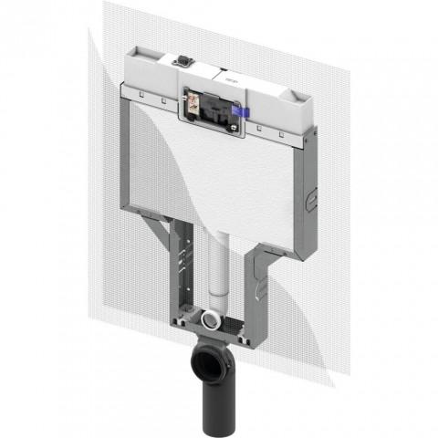 8 cm TECEbox nuplovimo bakelis, pritaikytas pakabinamam klozetui. Valdymas iš priekio