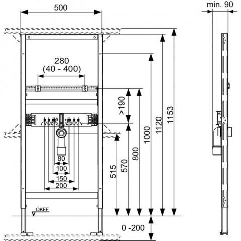 TECEprofil universalus praustuvo modulis, montavimoaukštis 1120 mm