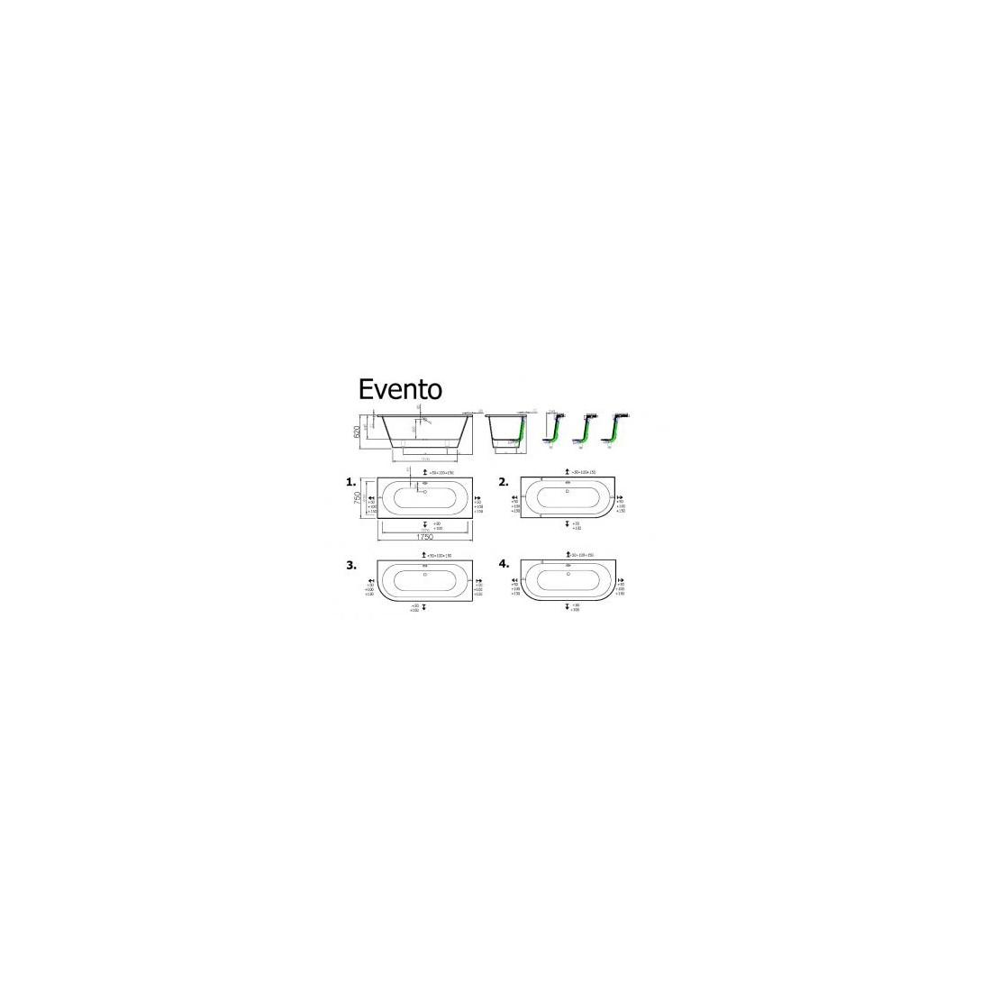Akmens masės vonia VISPOOL EVENTO 175x75 apvalinta dešinė pusė balta
