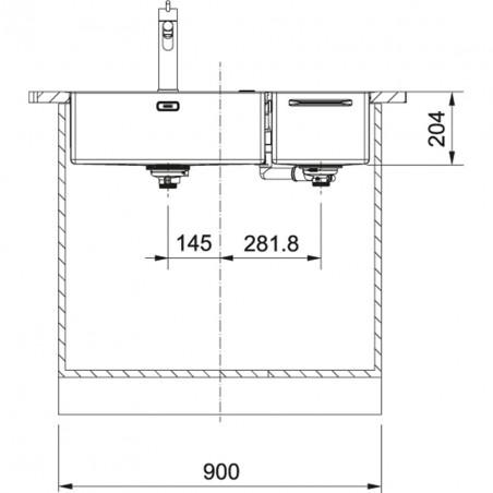 Nerūdijančio plieno plautuvė Franke Box Center BWX 220-54-27, dešininė