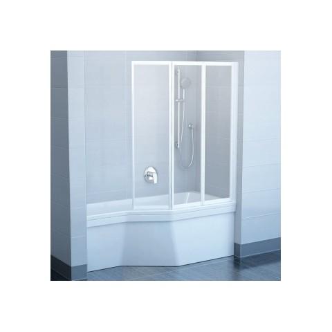 Vonios sienelė RAVAK VS3 130 balta + stiklas Grape