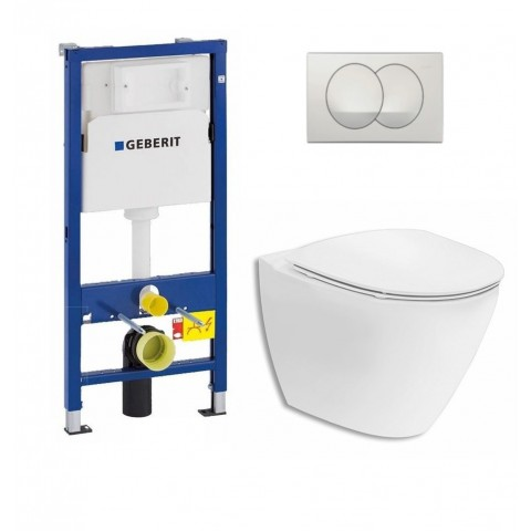 WC rėmo komplektas Geberit, Duofix Basic Delta 20, su Ifo Inspira Art Rimfree ir soft-close dangčiu