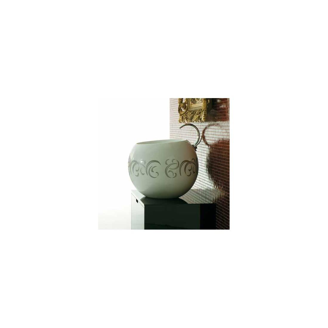Pastatomas praustuvas SFERA 56 cm, su anga maišyt., dekoru Barocco, baltas