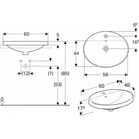 Praustuvas įleidžiamas VariForm 60 cm, ovalus, baltas