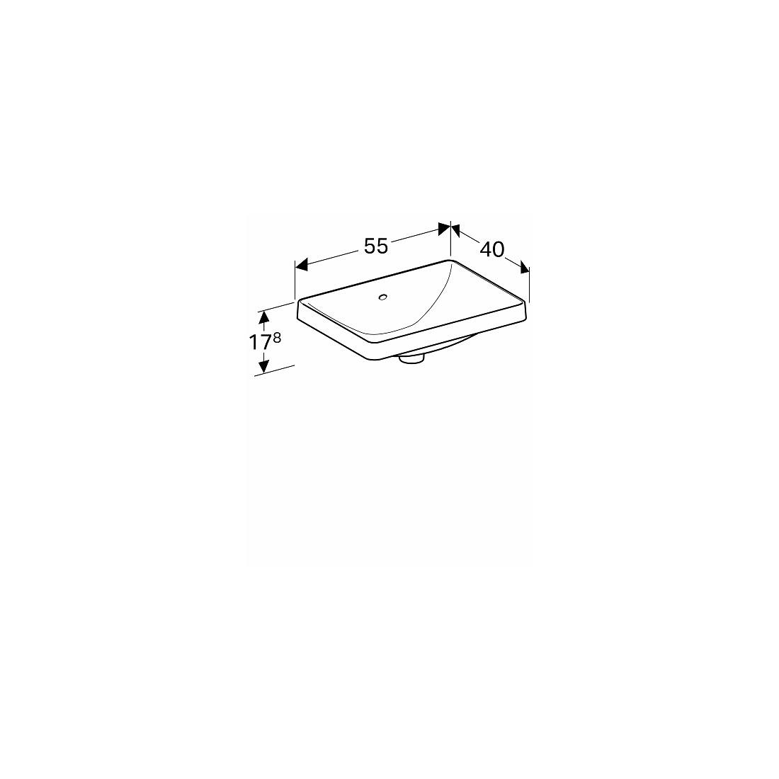 Įleidžiamas praustuvas Variform stačiakampis,  55x40