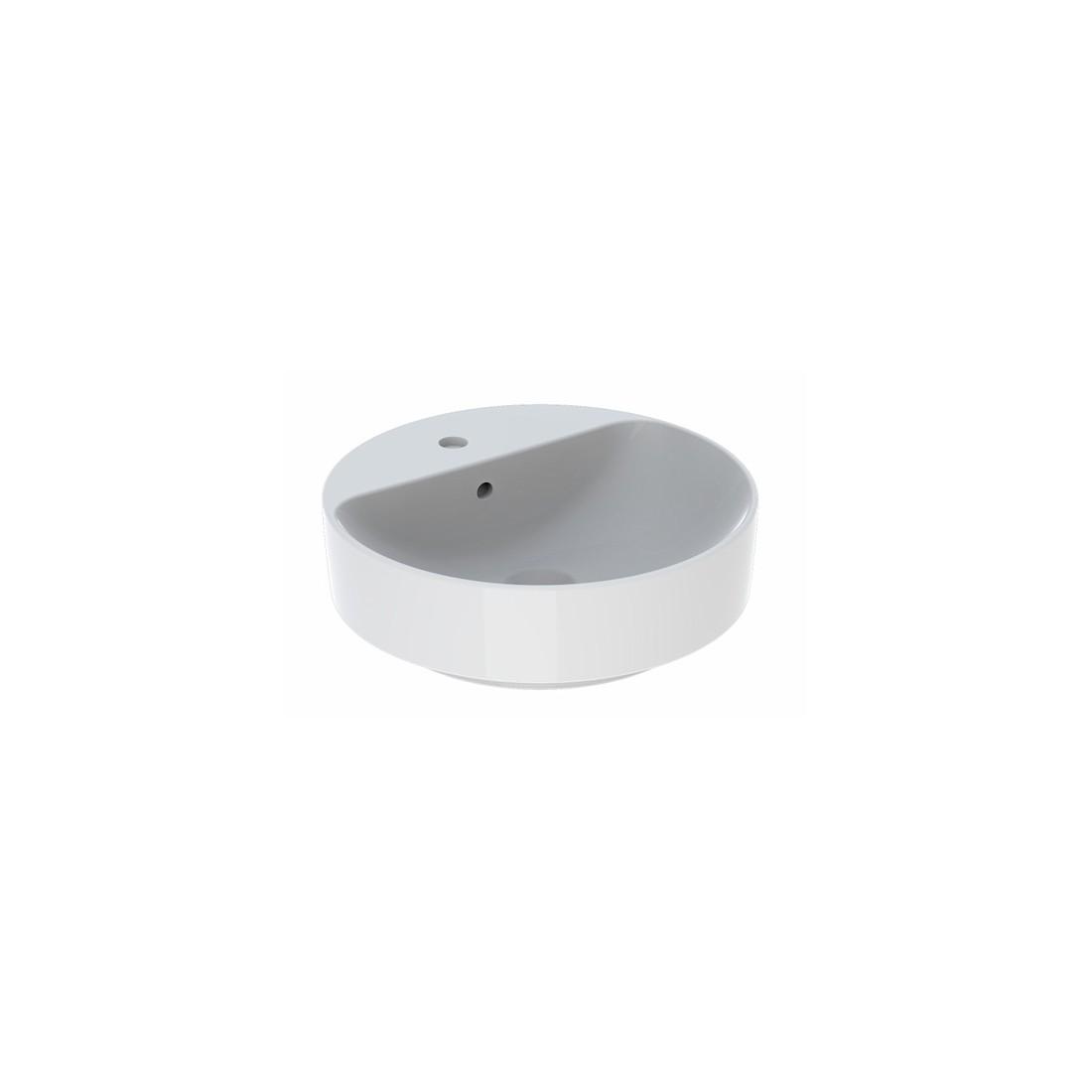 Praustuvas pastatomas VariForm 45 cm, apvalus, su persipylimu, skyle maišytuvui,baltas