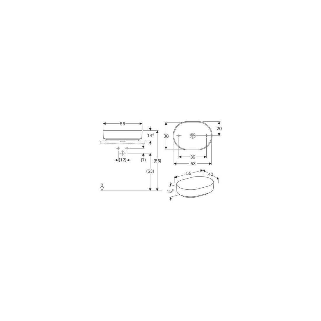 IFO praustuvas 55 cm VariForm pastatomas,baltas elipsės formos
