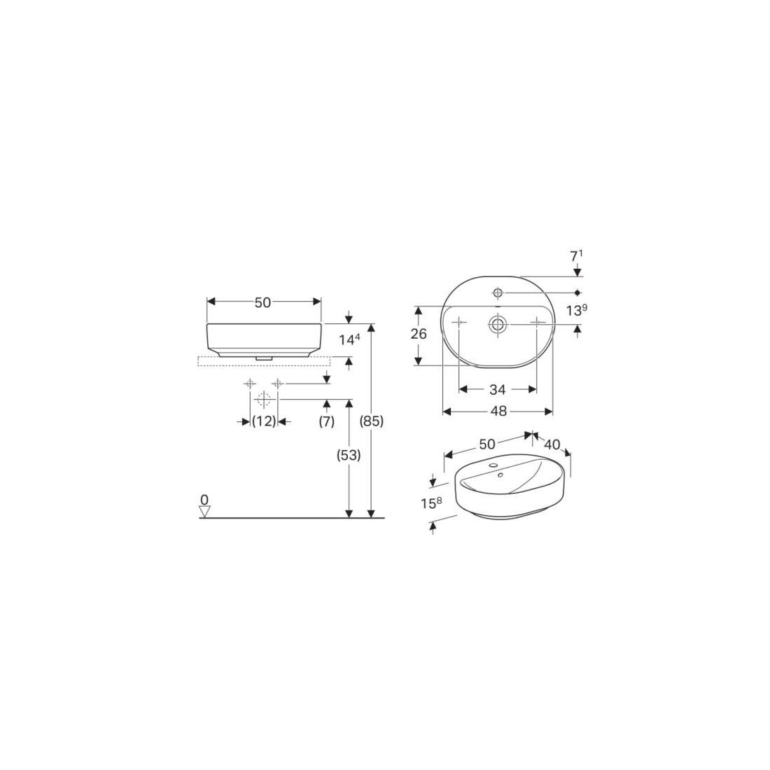 Praustuvas pastatomas VariForm 50 cm, elipsės formos, baltas