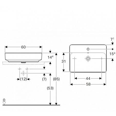Praustuvas pastatomas VariForm 60 cm, stačiakampis, baltas