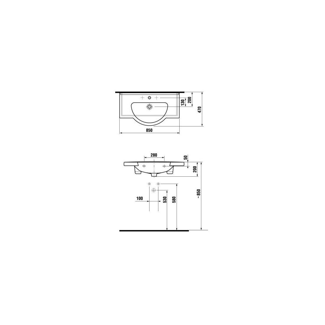 Baldinis praustuvas MIO 85 x 47 cm, su 1 anga maišytuvui viduryje