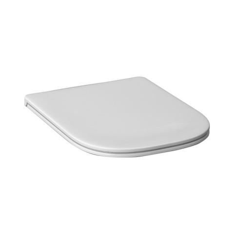 Sėdynė su dangčiu DEEP, antibakterinė, chromuoti lankstai, su lėto nusileidimo sistema SLOW CLOSE, balta