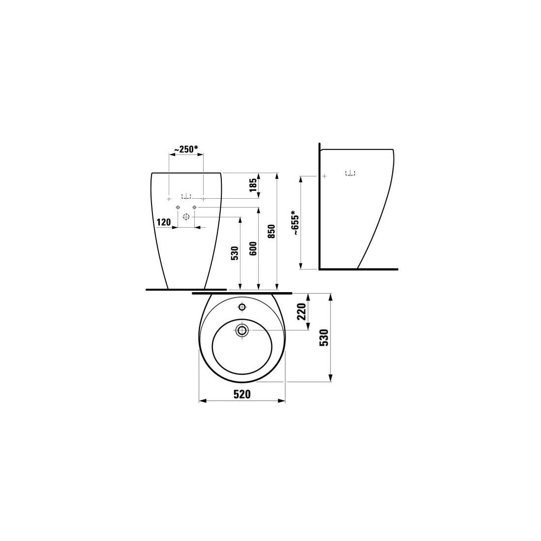 IL BAGNO ALESSI ONE Praustuvas 52 x 53 cm, su 1 anga maišytuvui viduryje, su nuotako ir perlajos vožtuvu Clou 8.9194.1