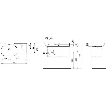 Praustuvas INO 900x450 mm su lentyna dešinėje, 1 skyle maišyt., Saphir Keramik,baltas