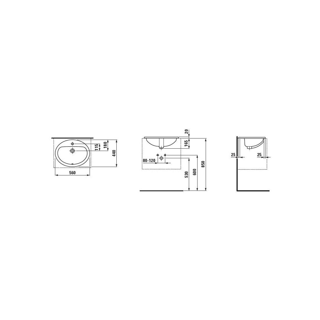 Iš viršaus įleidžiamas praustuvas PRO B 56 x 44 cm, su 1 anga maišytuvui viduryje