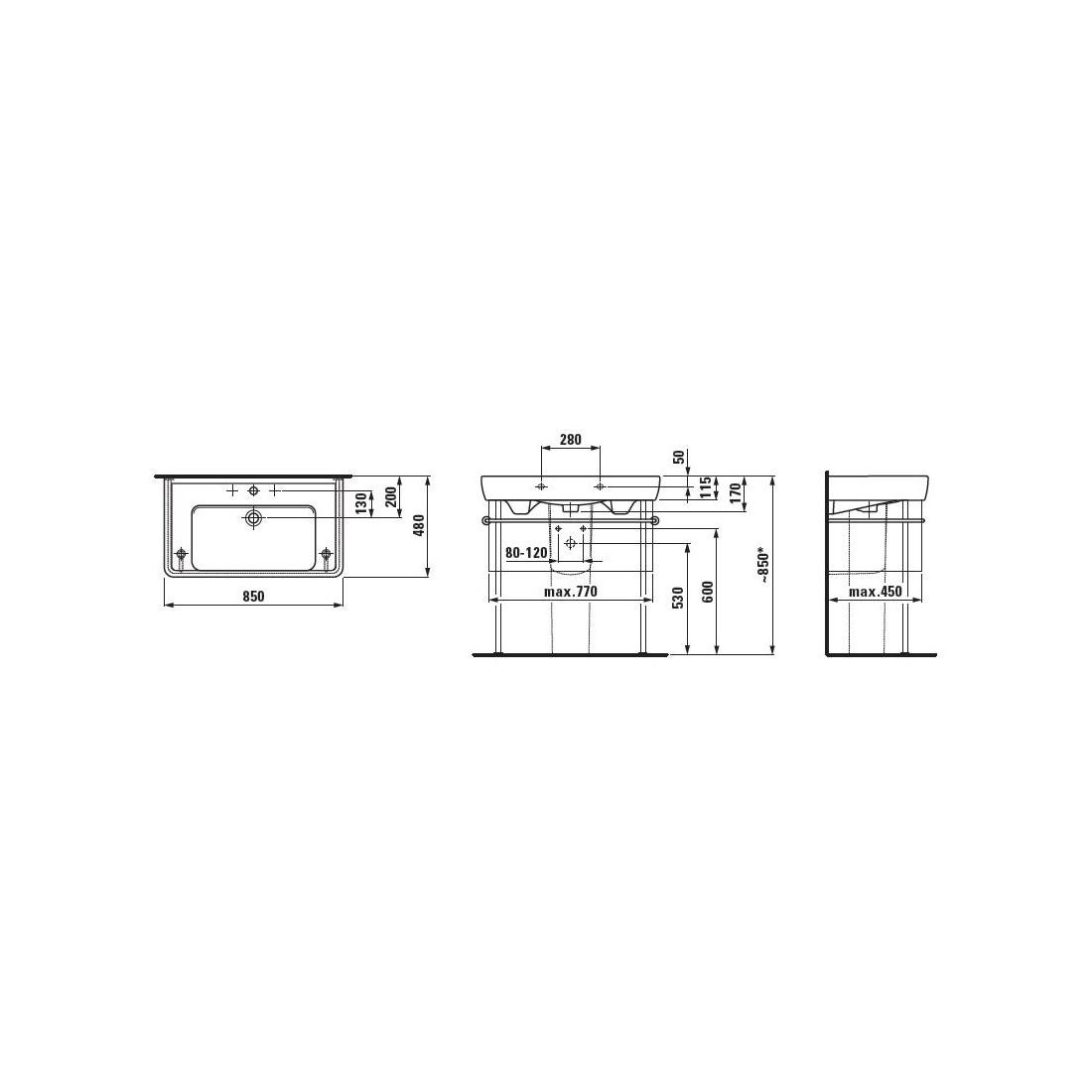 Baldinis praustuvas PRO A  85 x 48 cm, su 1 anga maišytuvui viduryje