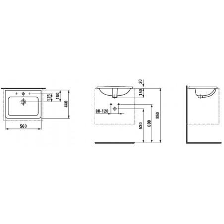 Iš viršaus įleidžiamas praustuvas PRO A 56 x 45 cm, su 1 anga maišytuvui viduryje