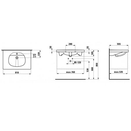 TALUX Baldinis praustuvas 81 x 55,5 cm, su 1 anga maišytuvui viduryje
