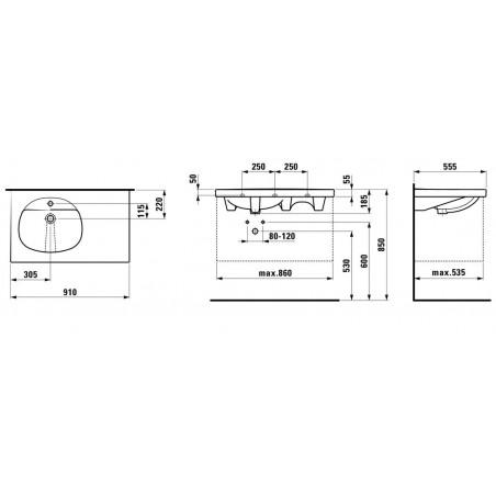 TALUX Baldinis praustuvas 91 x 55 cm, su 1 anga maišytuvui viduryje, platus kraštas dešinėje