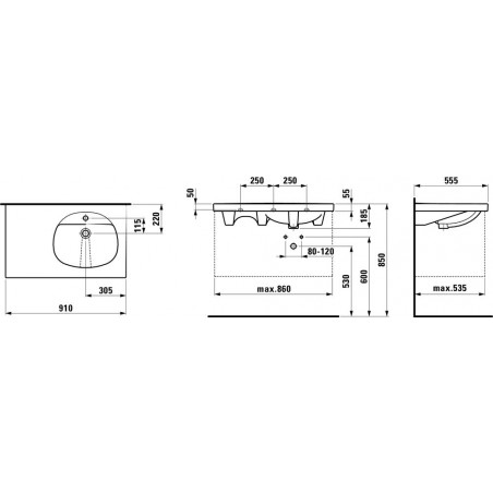 TALUX Baldinis praustuvas 91 x 55 cm, su 1 anga maišytuvui viduryje, platus kraštas kairėje