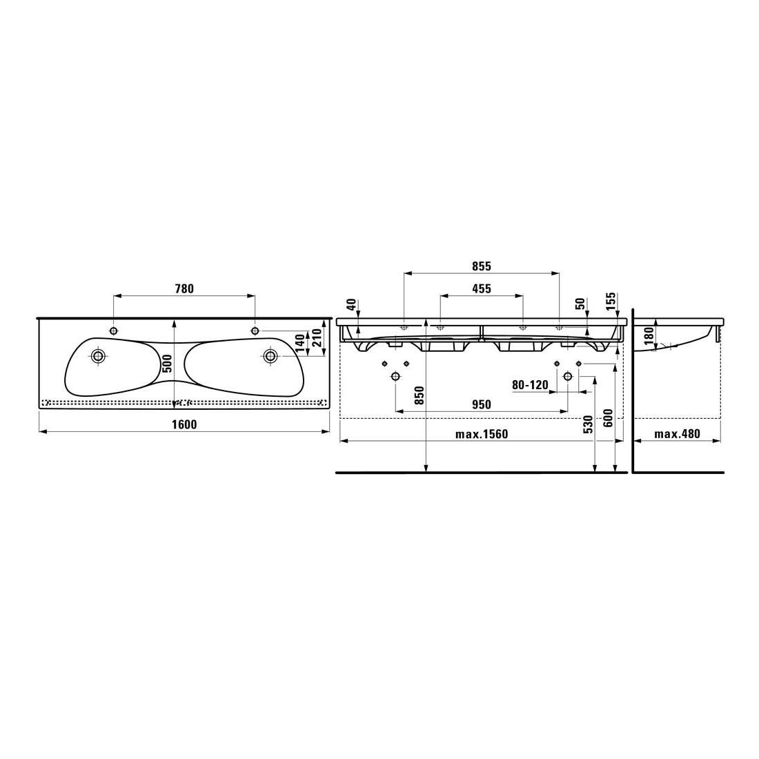 Dvigubas baldinis praustuvas PALOMBA 160 x 50 cm, su 2 angom maišytuvams, su perlaja, LCC, baltas