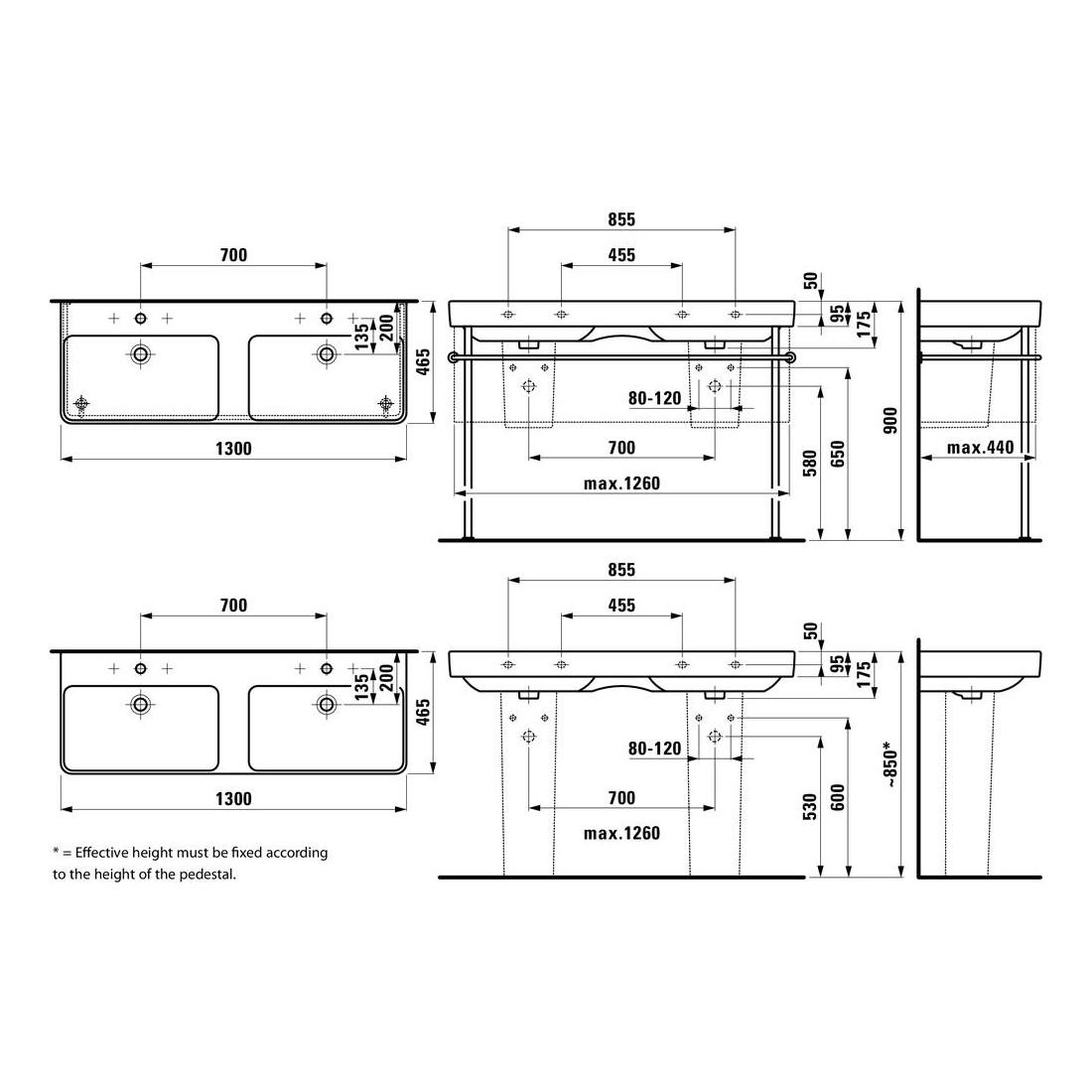 Dvigubas baldinis praustuvas PRO S, 1300x460 mm su 1 skyle maišyt., LCC baltas
